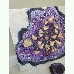 """Other - Originial Painting Acrylic Geode Crystal 14"""""""
